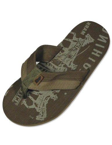 Famous Brand - Mens Flip Flop Sandal, Brown 28593-S7-8 front-67698