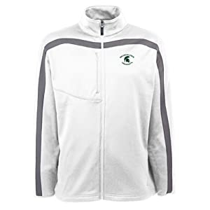 Michigan State Spartans NCAA Viper Mens Full Zip Sports Jacket (White) by Antigua