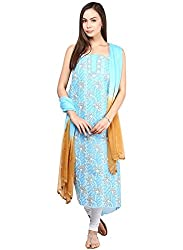 Nandini's Blue Lucknawi Chikan Flowy Cotton Hand Embroidered Dress Material/ Unstitched Salwaar Kameez with Pure Chiffon Dupatta by SHENARO Lifestyle