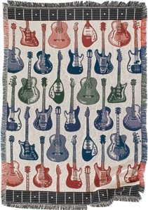 Guitar Woven Throw Cotton Tapestry Fringe Vibrant Colors Fret Pattern Border front-35076