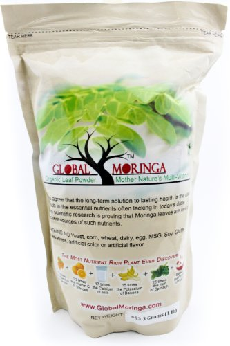 Moringa Powder 1.0Lb/16.6Oz. (453.59 Grams) 100% Pure Organic Grade A Powder Ground From A Natural Oleifera Drumstick Tree. Our Premium Leaf Is Grown In Ghana And Harvested Fresh.