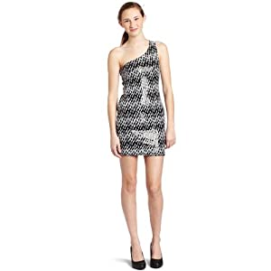 White  Shoulder Dress on Cheap As U Wish Junior S One Shoulder Print Sequin Dress Black White