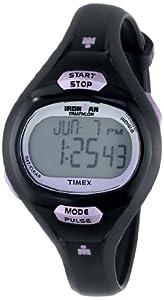 Timex Women's T5K187 Ironman Pulse Calculator Black/Purple Resin Strap Watch by Timex
