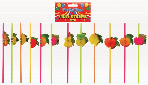 Pack of 12 Hawaiian Cocktail Beach Fruit Straws / Party Hen Stag / Fancy Dress