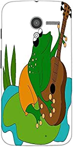 Snoogg Frog Playing Guitar Designer Protective Back Case Cover For Motorola X...
