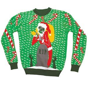 Zombie Santa Christmas Sweater- FunQi, Green (Small)