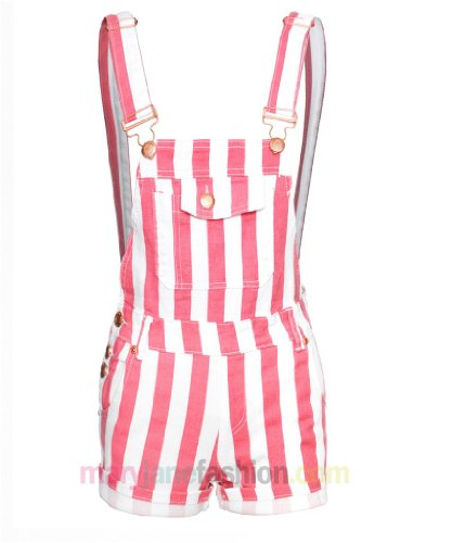 Ladies Womens Denim Playsuit Dungarees Shorts Striped Candy UK 6 8 10 12 14