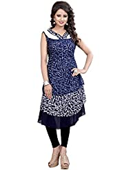 Lakshminarayan Creatin's Womens Printed Georgette Navy Blue Kurti Without Leggings