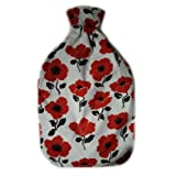 Warm Tradition Red Poppies Cotton Flannel Covered Hot Water Bottle - Bottle Made in Germany, Cover Made in USA