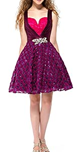 Pashioa Womens Straps Sweetheart Sequins Crystal A-Line Homecoming Dress 16 Purple