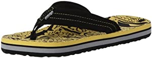 Reef Ahi Flip Flop (Toddler/Little Kid/Big Kid),Yellow/Monsters,06R (6/7 M US Big Kid)