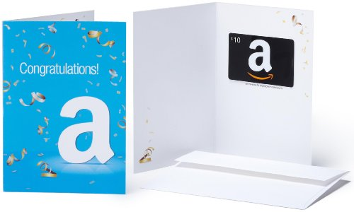 Amazon.com Gift Card with Greeting Card - $10 (Congratulations)