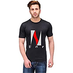 Trendster N Letter Printed Cotton Black T Shirt