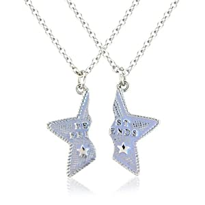Bestfriend necklace, 2 bestfriends star necklace includes 2 free gift bags for you both