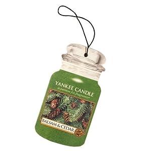 Yankee Candle Balsam & Cedar Car Jar Air Freshener, Festive Scent