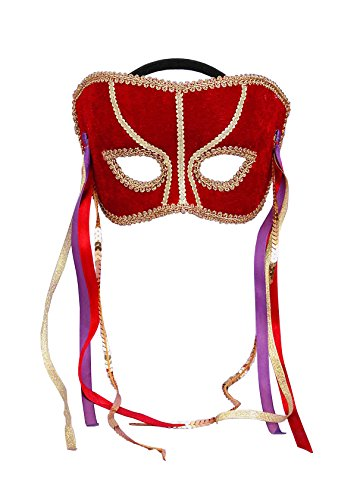 Forum Novelties Men's Karneval Style Red Half Mask with Feathers, Red/Gold, One Size