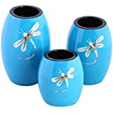 Asian Artisans Wood With Lacquer Coating Candle Holders - (Large,Blue)