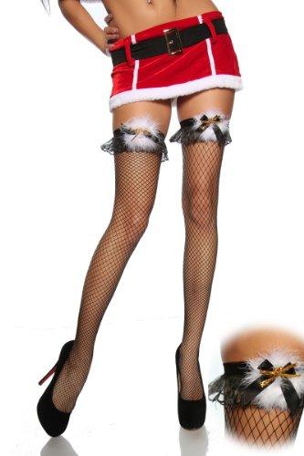 Amynetti Sexy Damen Dessous zu Weihnachten Nikolaus Netzstrümpfe Stockings Overknees Netz halterlose Strümpfe Federn mit Plüsch