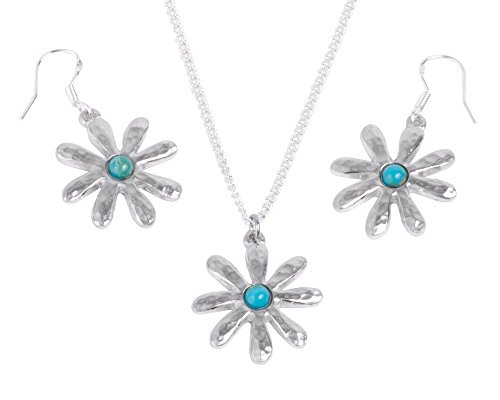 10th Anniversary Gift for Her - Turquoise Tin Flower Earring and Pendant Set -