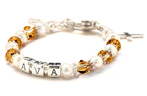 Children'S Crystal & Cultured Freshwater Pearl Name Bracelet - November Birthday front-225680