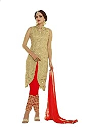 Khazanakart New Attractive Red Colour Net Fabric Bollywood Style Designer Salwar Suit Dress Material For Women