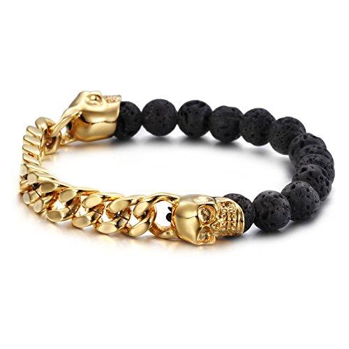 YSM Biker Chain Bracelet 220mm Stainless Steel Link Bracelet 10mm Width Elegant Men's Bangle(Silver+Gold)