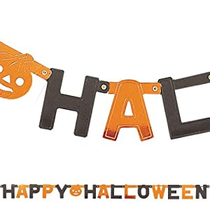 """Happy Halloween"" Party Black and Orange Letter Banner with Pumpkin from Amscan"