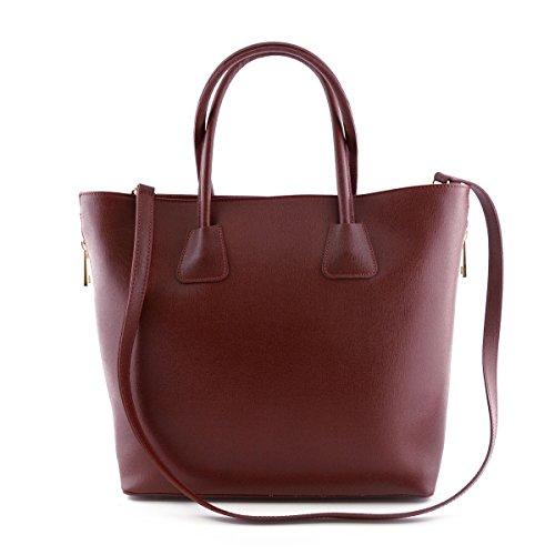 Sac Shopper En Cuir Véritable Pour Femme, 2 Glissières Latérales Rouge - Maroquinerie Fait En Italie - Sac Femme