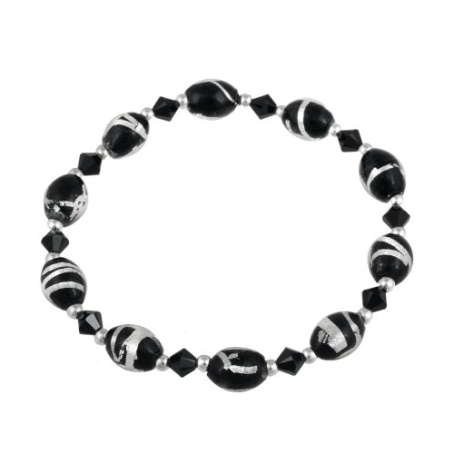 Sterling Silver Black and Silver Hand Blown Glass Bracelet, 7.5