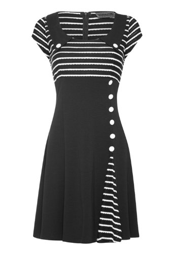 Retro Rockabilly Striped Waisted & Flared Dress