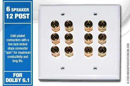 12 Post Speaker Wall Plate For 6 Speakers Dolby 6.1 - High Quality