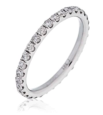 0.75CT Certified G/VS2 Round Brilliant Cut Claw Set Full Eternity Diamond Ring in 18K White Gold