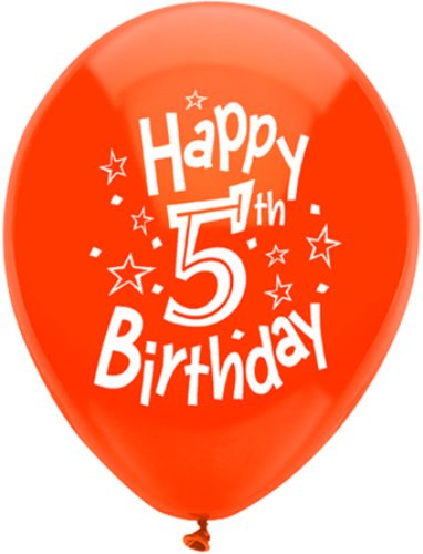 "Pioneer Balloon Company Happy 5th Birthday Latex Balloons (5 Pack), 11"", Assorted"