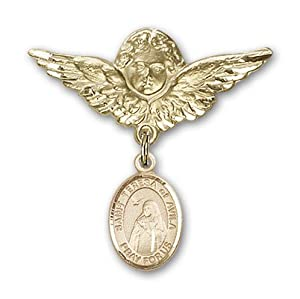 14K Gold Baby Badge with St. Teresa of Avila Charm and Angel with Wings Badge Pin