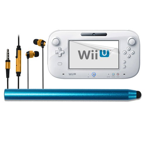 Skque Clear Transparent Anti Scratch Screen Protector Skin Guard Film + Aluminum Pencil Style Stylus Pen,Blue + Universal 3.5Mm In Ear Stereo Earbud Headset With Button And Microphone,Gold/Black For For Gaming Nintendo Wii U Gamepad Remote Controller