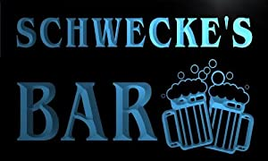 w101060 b SCHWECKE Name Home Bar Pub Beer Mugs Cheers Neon Light Sign