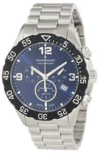 Claude Bernard Men's 10202 3 BUIN Aquarider Blue Chronograph Rotating Bezel Steel Watch