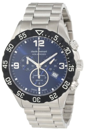 Claude Bernard Men's 10202 3 BUIN Aquarider Blue Chronograph Rotating Bezel Steel Watch