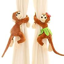 FUA® 1 Pair Children Room Nursery Naughty Play Monkey Curtain Tie Back Tiebacks (Brown )