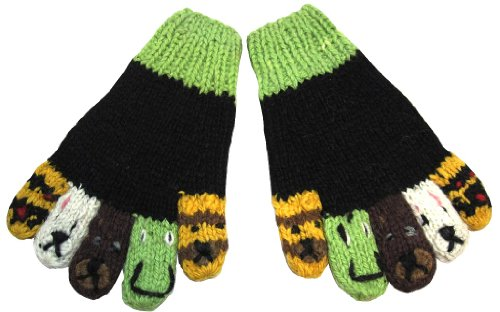 Alpaca Adorable Kids Hypo-Allergenic Finger Animal Gloves Mittens Black & Green front-558828
