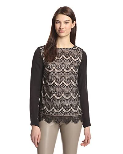 Nicole Miller Women's Scalloped Lace Top