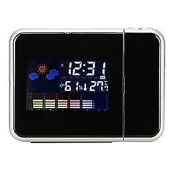 Ieasycan Multi-Function Digital Projection Wake-Up Alarm Clock, LED Backlight, Temperature & Humidity & Calendar Display(Black)