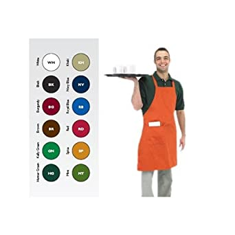 Chef Revival 601BAC Poly Cotton Full Length Bib Apron with Side Pocket, 34 by 30-Inch, Burgundy