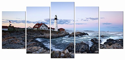 Wieco Art - Island 5 Panels Modern Canvas Prints Artwork Seascape Lighthouse Pictures to Photo Paintings on Stretched and Framed Canvas Wall Art Décor for Living Room Bedroom Home Decorations (Nautical Paintings compare prices)