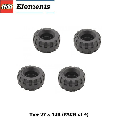Lego Parts: Tire 37 X 18R (Pack Of 4)