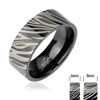 316L Stainless Steel Black IP with Zebra Print Ring 6mm, 8mm; Comes with Free Gift Box