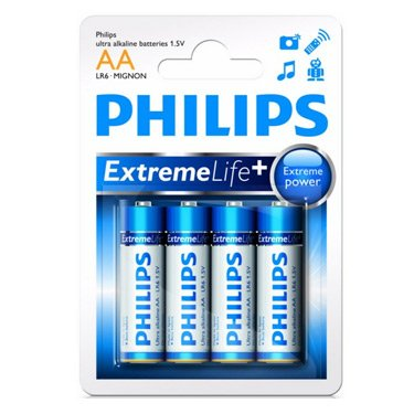Philips Extreme Life+ AA LR6 Alkaline Batteries (4 Pack)