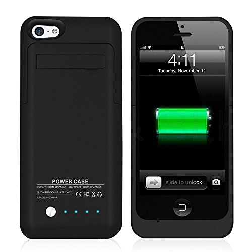 ISAKO iPhone 5 / 5S / 5c 用 バッテリーケース 大容量2200mAhアイフォーン アイフォン 充電が可能なiPhoneケース (ブラック)