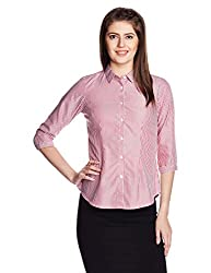 People Women's Button Down Shirt (P20402166004312_Dry Red_Small)