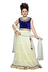 Aarika Girls' Self Design Premium Net Lehenga Choli and Dupatta Set (LCH-3013-BLUE-AMUL_38_14-15 Years)